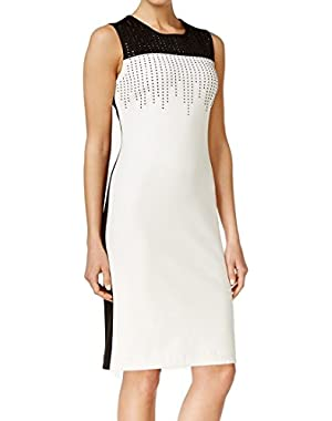 White Women's Sheath Embellished Dress Black 6