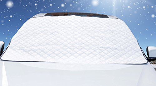 "Premium Snow Windshield Cover by Glare Guard | Snow, Ice, Sleet, hail & Frost Protection | Universal 80"" x 40"" frost-guard fits Cars, Trucks & SUV's (Car Doors Frozen Open)"