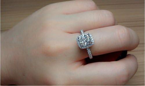 Victoria Jewelry Handmade Cushion Cut 3ct Diamonique Cz 925 Sterling Silver Women Wedding Ring 6