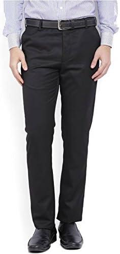 SSB Cotton Blend Formal Trousers Solid Black Pants for Men's