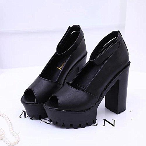 con Street de Espesor de yalanshop Tacón Paquete Negro Impermeable Primavera 39 Zapatos de Zapatos Taiwán Alto Mujer Gruesa Mujer Sandalias con de Pescado Solo Impermeable Boca xqF0wqfO17