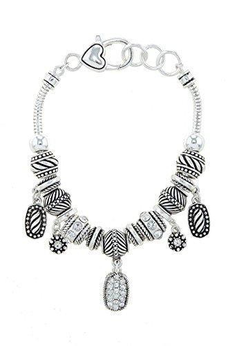 Bali Silver Bracelet Watch (TRENDY FASHION JEWELRY BALI BEADED CHARM BRACELET BY FASHION DESTINATION | (Antique Silver))