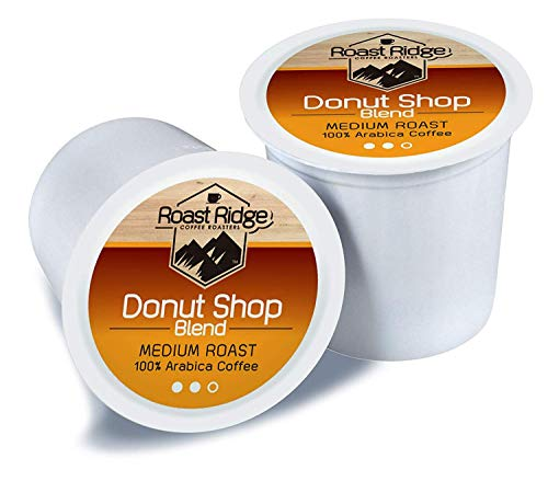 Roast Ridge Coffee Roasters Donut Shop Blend Single Cup Coffee 100 Count Hot Beverage Cups, Compatible with Most Single-Serve Brewing Systems that Accept K-Cups, Including Keurig 2.3 ()