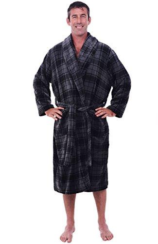Alexander Del Rossa Mens Fleece Robe, Shawl Collar Bathrobe, Small Medium Grey Plaid (A0114R40MD)