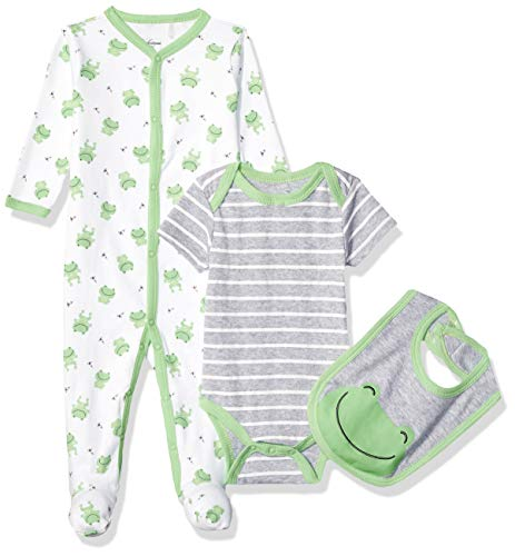 - Quiltex Boys' Toddler Frog Print Pant Set with Bodysuit and Bib 3 Pc, 6-9 Months