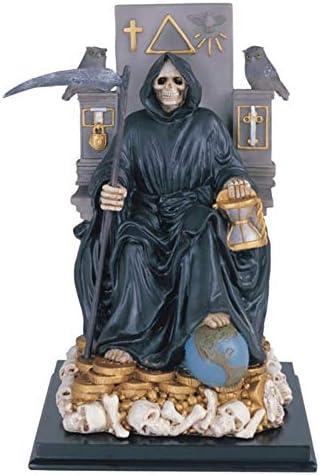 12 Inch Sitting Black Santa Muerte Saint Death Grim Reaper Statue