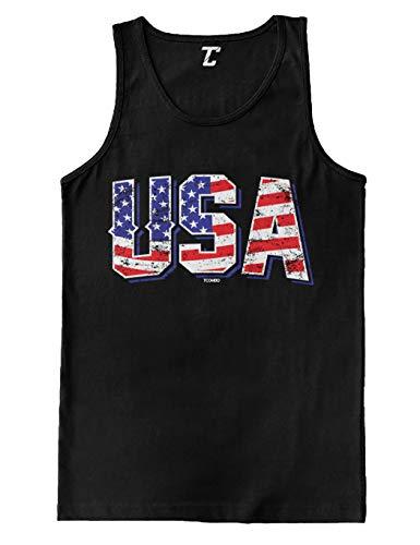 (USA - Retro American Flag Stars & Stripes Men's Tank Top (Black, X-Large))