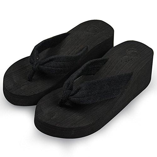 Cybling Kvinnor Sommar Låg Kil Flip Flops Sandaler Mode Utomhus Tillfälliga Böhmen Strand Tofflor Svart
