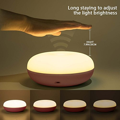 Baby Nursery Bedside Lamps, Poome Baby Kids Night Light, Safe Material ABS Night Lights for Kids, Eye-Caring Baby Nursery Lamps, Adjustable Brightness and Warm Light, Rechargeable (Pink)