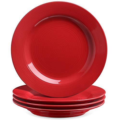 Le Tauci 4 Piece 8 Inch Ceramic Salad Plate Set, Red
