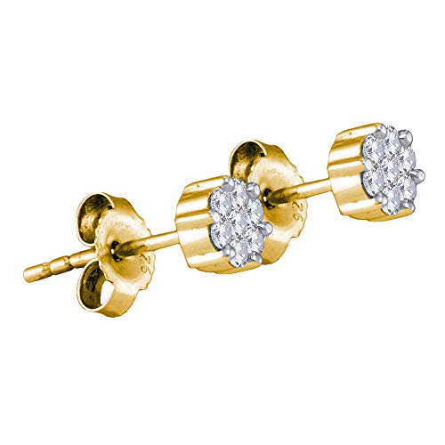 (The Diamond Deal Yellow-tone Sterling Silver Womens Round Diamond Flower Cluster Stud Earrings 1/6 Cttw)