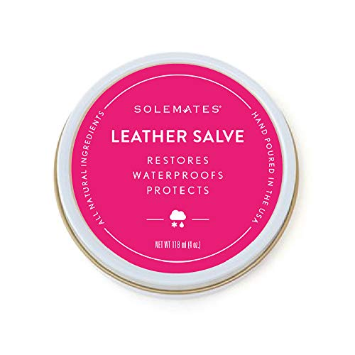 Leather Shoes Handbag Protectant Cream – Solemates Waterproof Leather Salve – All Natural Ingredients – Safe for Leather and Skin– Hand Poured in USA – 4 oz. (118mL)