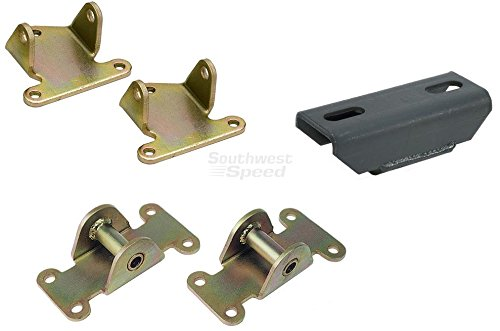 NEW SOUTHWEST SPEED CHEVY SOLID MOTOR MOUNT, SOLID MOTOR MOUNT PAD KIT, & SOLID TRANSMISSION MOUNT, CAMARO, FIREBIRD, CHEVELLE, MALIBU, MONTE CARLO, EL CAMINO, NOVA, IMPALA, CAPRICE, FITS POWERGLIDE, TH-350, TH-400, BORG-WARNER, MUNCIE, SAGINAW, CHRYSLER 4-SPEED, DOUG NASH 5-SPEED TRANSMISSION