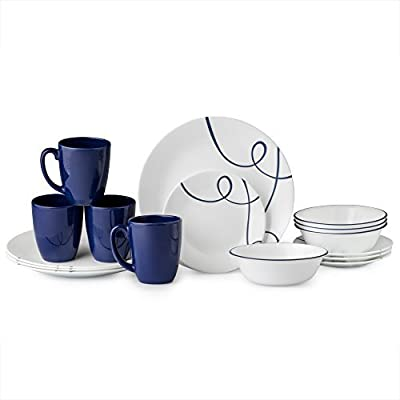 Corelle 16 Piece Lightweight and Chip Resistant Livingware Dinnerware Set, Lia Blue