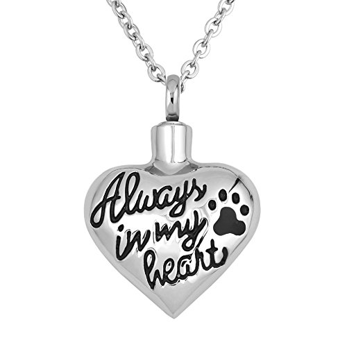 LuckyJewelry Cremation Urn Necklaces for Ash Always in My Heart Paw Print Pet Pendant