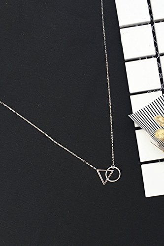 Generic S925_pure_ silver short necklace pendant _Europe, is_very_ simple _and clavicle_ chain women girl _triangle_round_ pendant necklace s_anti-man_does_not_fade