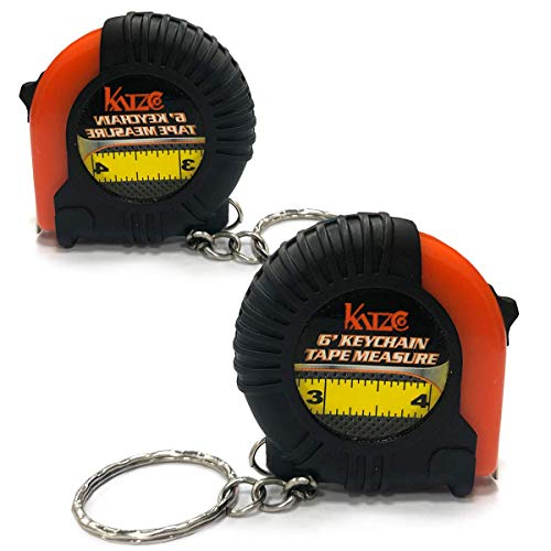 Katzco 6 Foot Long Keychain Tape Measure - 2 Pack - Thumb Power Lock Measuring Tape - High Carbon Steel Blade and Shock Absorbent Case - for Professional and Amateur Workers