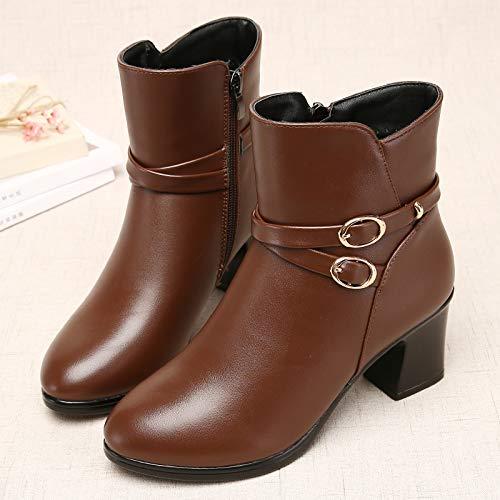 Shukun Bottes Bottes des mères Bottes d'hiver Femmes des Femmes d'hiver épaisses avec épaissie avec des Bottes Martin Chaussures pour Femmes Chaussures en Coton Chaussures d'âge Moyen 37|Twilight D e76449
