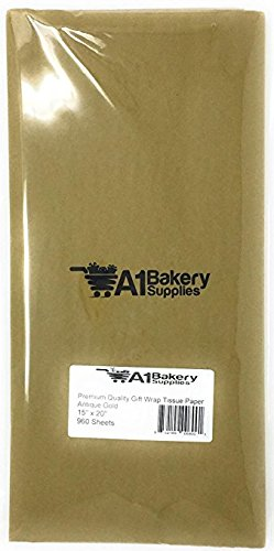 A1BakerySupplies(TM) High Quality Gift Wrap Color Tissue Paper - Preimum Quality Paper Made in USA 15 X 20 Inches - 100 Sheets per Pack (Antique Gold)