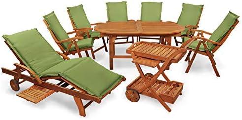 Indoba XL - Juego de Muebles de jardín (16 Piezas) Nexos Trading - Juego de Mesa y sillas de jardín (Incluye Cojines), Color Verde: Amazon.es: Jardín