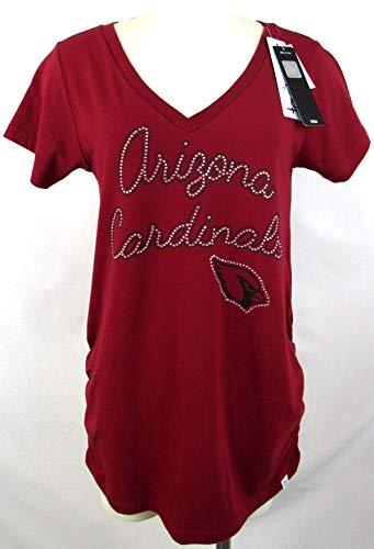 Womens Touch Arizona Cardinals Rhinestone Bling Logo Cotton Stretch Maternity T-Shirt, Size Small ()