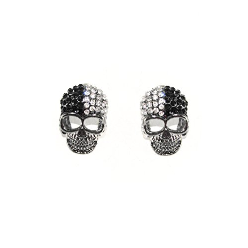 Unisex Hematite Black And White Crystal Skull Head Halloween Earring Studs ()