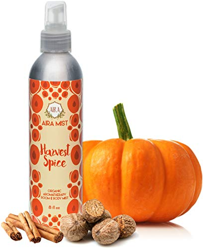 Aira Mist Harvest Spice Fall Organic Room Spray - Essential Oil Spray with Organic Ingredients & Therapeutic Essential Oils - Living Room Spray Free of Alcohol & Parabens - Home Fragrance - 8 Ounces - Home Concentrated Fragrance Spray