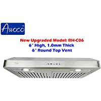 Awoco RH-C06-30 Classic 6 High 1mm Thick Stainless Steel Under Cabinet 4 Speeds 900CFM Range Hood with 2 LED Lights, 6 Round Top Vent - 30 Width