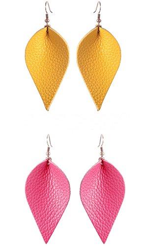 Lightweight Women Real Jewelry Leather Leaf Teardrop Earrings Dangle Drop Earring No Faux Yellow Hot Pink Color