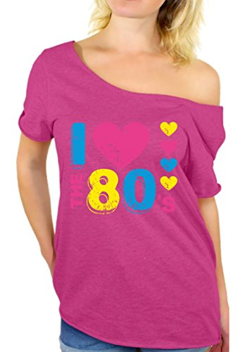 Awkward Styles Women's I Love The 80's Off The Shoulder Tops for Women T Shirts for 80's Fans (S, Pink)