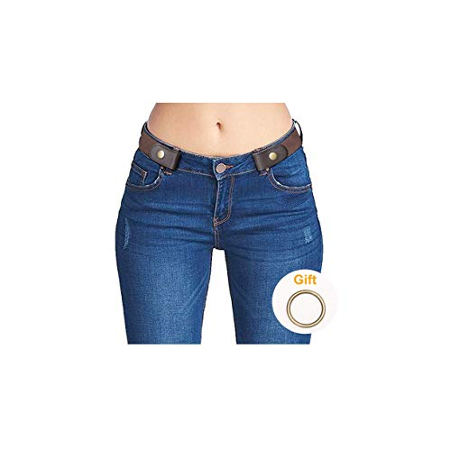 No Buckle Stretch Belts for Men and Women Brown, Invisible Belts for Jeans Plus Size
