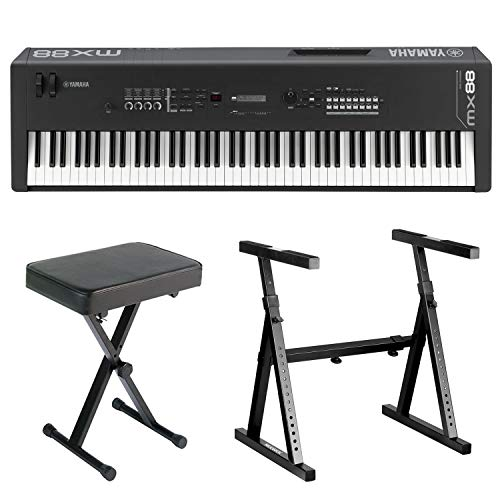 Yamaha MX88 88-Key Music Synthesizer Complete Bundle with Heavy Duty Z-Style Keyboard Stand and Folding X-Style Piano Bench