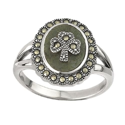 (Sterling Silver Irish Shamrock Connemara Marble Marcasite Ring by Solvar Size 6)