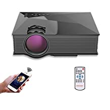 Simplified Mirco Projector with WIFI Ready, Lary Intel UNIC UC46 Household LED Video Portable Mini Home Projector with Free HDMI Support 1080P for Home Cinema Theater TV Laptop Game SD iPad iPhone Android Smartphone