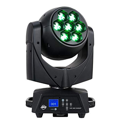 ADJ Products ADJ Vizi Wash7 is a 105W Professional Moving Head wash Fixture with Variable Zoom (5~55-Degrees) and Seven 15W HEX 7