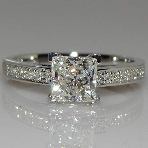 - Wausa Princess Cut 1ct Engagement CZ 925 Silver Women Wedding Band Ring Sz4-9 | Model RNG - 23440 | 9