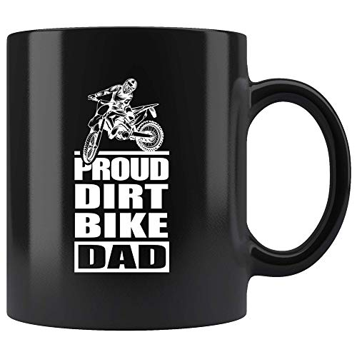 - Dirt Bike Dad Coffee Mug Fathers Day Motocross Rider Funny Proud - Black Ceramic Cup - DIRTBIKEDAD1