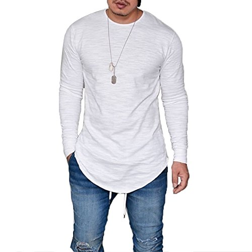 LIWEIKE Mens Solid Extended Hipster Hip Hop Swag Curve Hem Long Sleeve T Shirt (White, Large)
