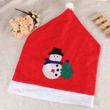 Christmas Snowman Decals Chair Cover Kitchen Dinner Seat Back Home Party Decoration - Arts, Crafts & Sewing Textile & Fabric Crafts - 1X Christmas chair cover