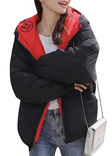 Con Imbottitura Xinheo Grafica Giacca Intera A Donna Impermeabile Nera Da Imbottita Zip qp4t41