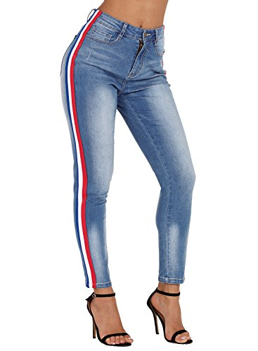 Sidefeel Women High Waist Rainbow Stripes Skinny Denim Jeans Pants Small Light Blue
