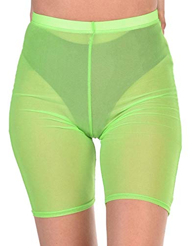 iHeartRaves Neon Green Sheer Back Stage Babe Mesh Biker Shorts (Plus Size 3X)