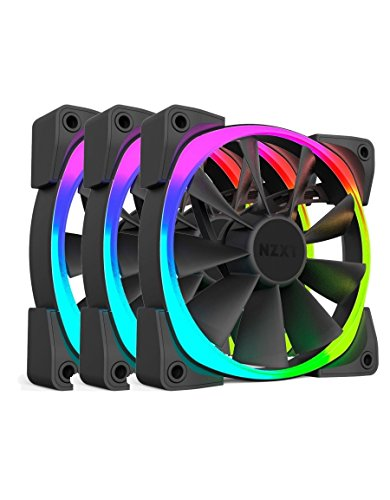 NZXT AER RGB140 Series 140 mm RGB LED Fan - Black (Pack of 3)