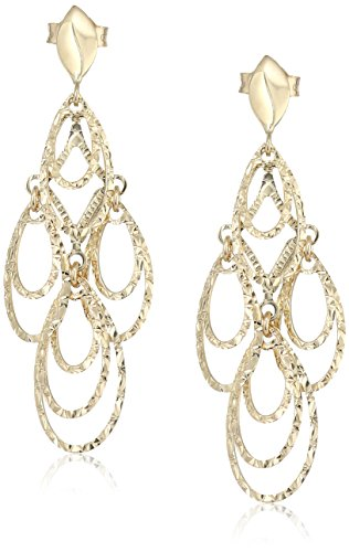 Treesse Italian 10K Yellow Gold Open Teardrop Dangle Earrings