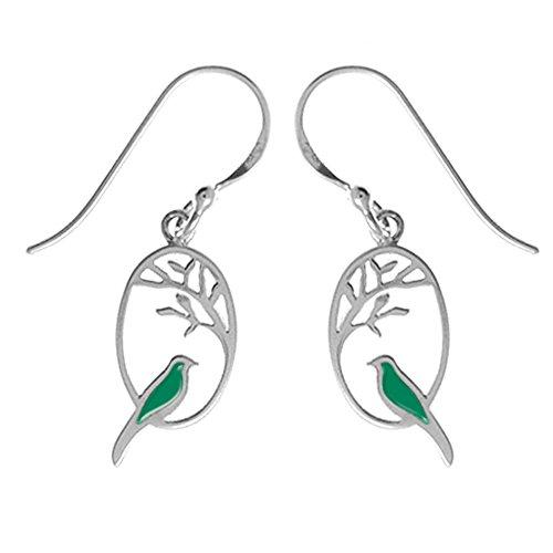 Boma Jewelry Sterling Silver Kelly Green Resin Bird Earrings