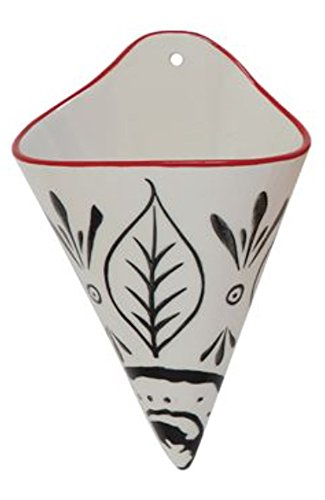 Cherry And Onyx Tribal Leaves Pattern 5 x 8 Stoneware Hanging Wall Vase ()