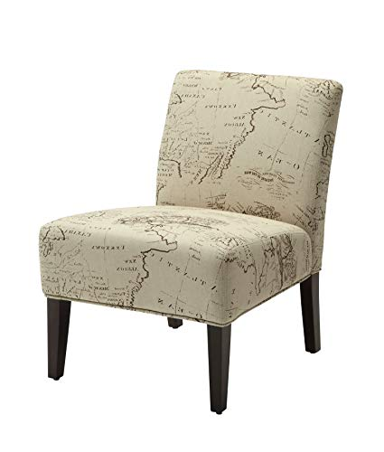 Major-Q Contemporary Style Linen Slipper Accent Chair for Living Room/Bedroom, Tight Back and Seat Cushion, World Map Pattern with Espresso Finish Wooden Tapered Leg 30″ x 23″ x 33″H, 9096229 For Sale