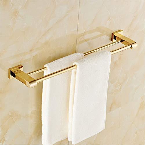 BEITAI Double Towel Bar Holder Luxury Golden/Chrome 60cm Square Base Wall Mounted Brass Modern Towel Hanger Bathroom Accessory ()