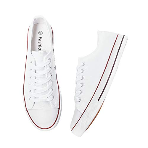 Adokoo Women's Canvas Shoes Casual Sneakers Low Cut Lace Up Fashion Comfortable for Walking White Size US9