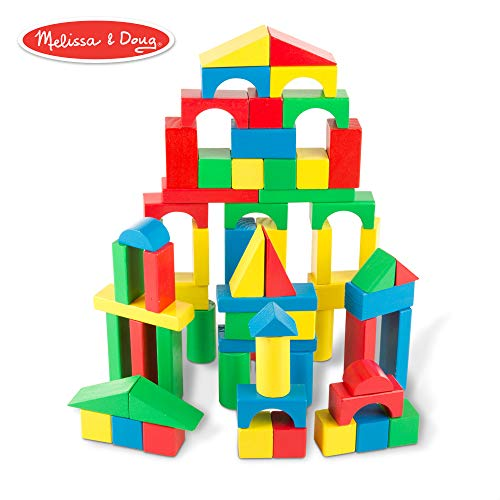Melissa & Doug Wooden Building Blocks Set (Developmental Toy, 100 Blocks In 4 Colors & 9 Shapes, 13.5